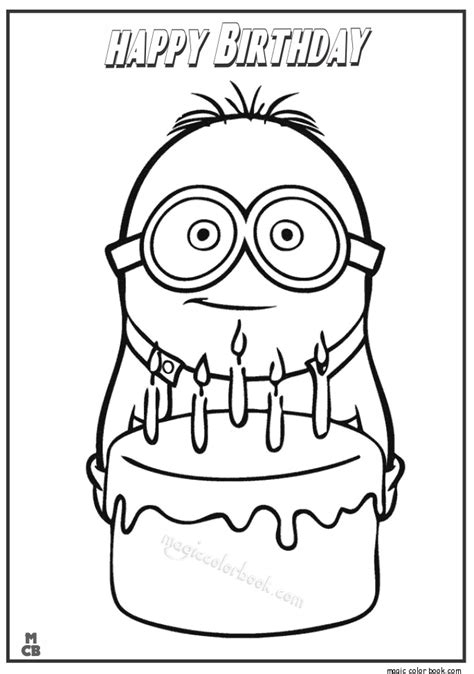 Minions Coloring Pages Happy Birthday | minion happy birthday coloring page
