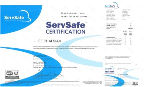 servsafe certificate template servsafe food protection manager certificate