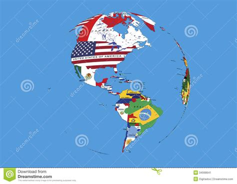 world map with country name and flag west hemisphere south america world globe flags map
