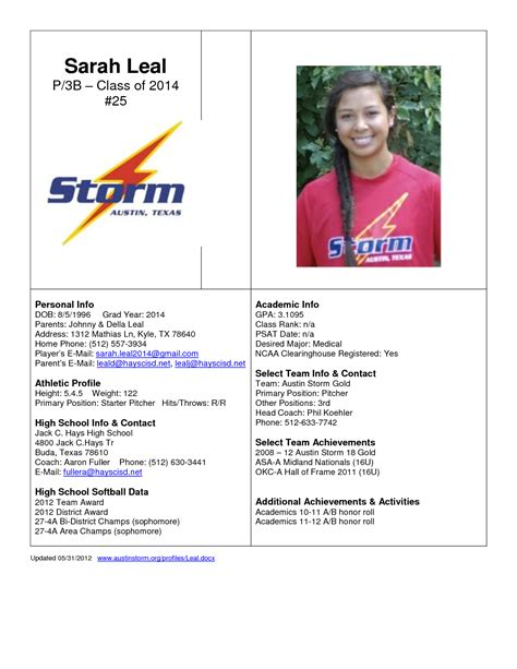 Best Photos Of College Profile Template Student Athlete Profile Sheet Personal Employee College Soccer Player Profile Template