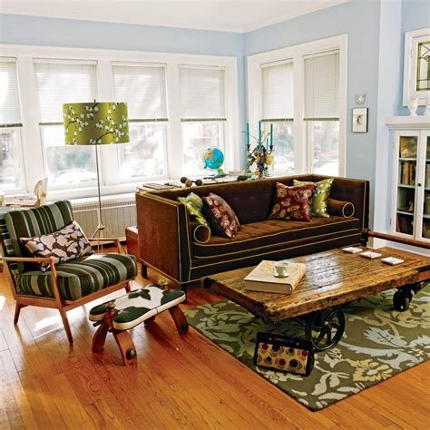 eclectic living room by two story cottage vintage chicago 2 story