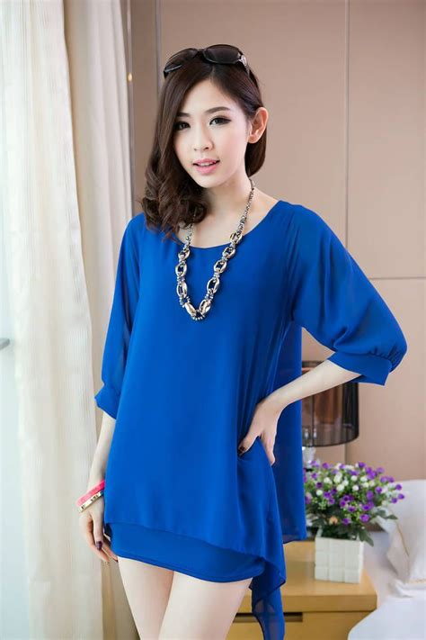 Blouse Korea Korean Blouse Blue Korean Fashion Blouse