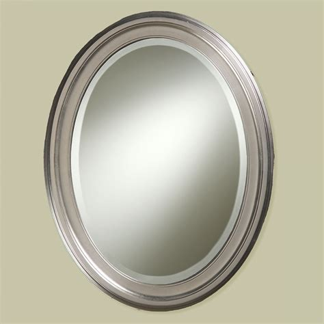 Bathroom Mirror Brushed Nickel | loree brushed nickel finish oval wall mirror