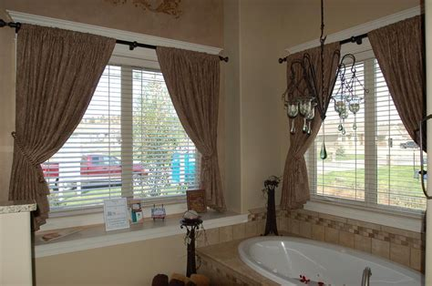 Home Improvement Ideas Bathroom interlined rod pocket curtains with tassel tie backs from