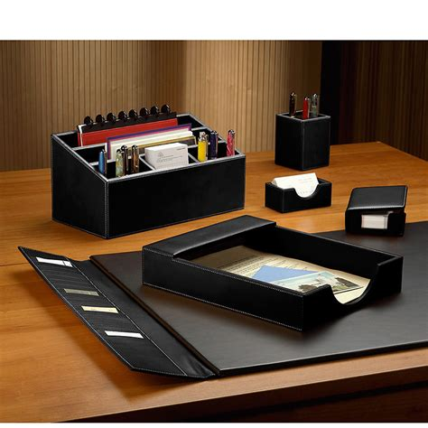 Desk Accessories Set Desk Set Six Pieces Leather Desk Set Desk Accessories Levenger