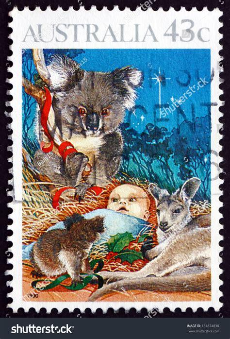 koala nativity australia circa 1990 a st printed in the australia shows nativity child and koala