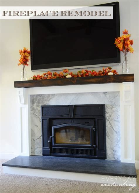 how to cover a brick fireplace with woodworking
