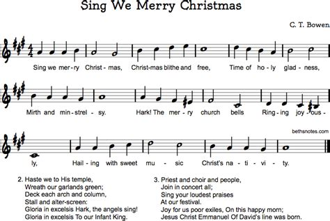 sing  merry christmas beths notes