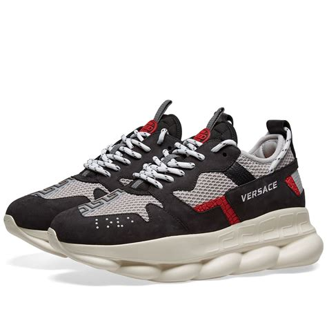 versace chain reaction  sneaker blue light grey red
