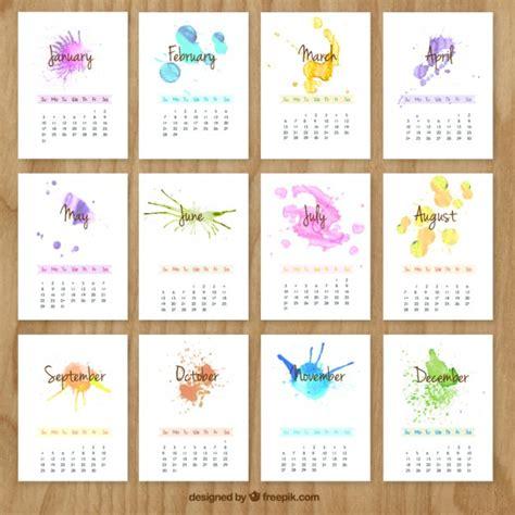 Calendario Escolar Ist 2014 Bemalt Kalender Mit Aquarell Spritzer Der