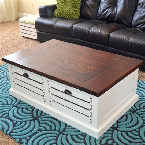 Crate Storage Coffee Table And Stools Her Tool Belt How To Build A Coffee Table With Storage