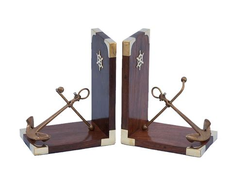 nautical home decor wholesale buy set of 2 antique brass anchor book ends 6 inch