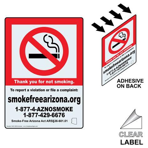 no smoking sign arizona thank you for not smoking smoke free az clear label nhe