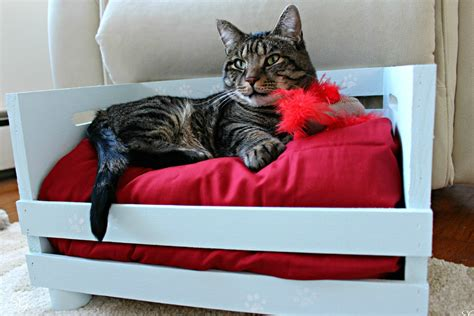 diy cat beds diy wood crate cat bed
