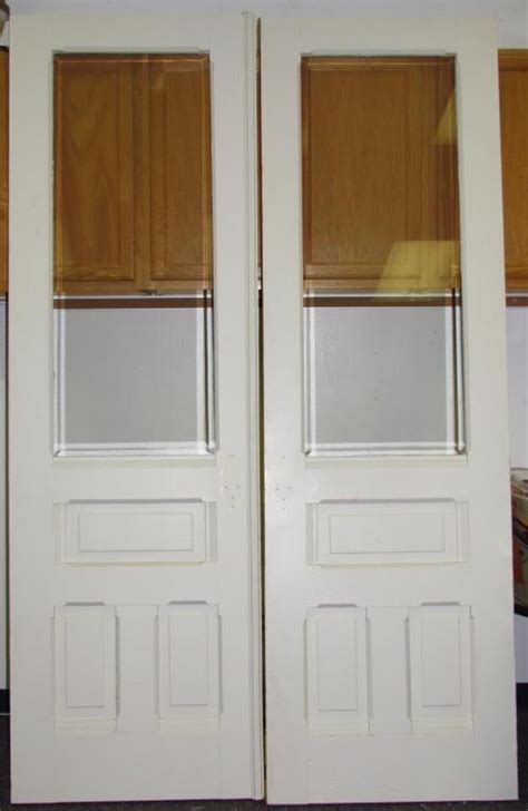 Antique Double Solid Hard Wood Interior French Doors W Solid Wood Interior Doors With Glass