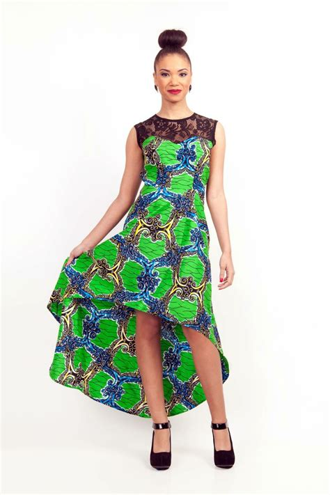 lace african print dress pinterest lace top african print high low dress african hi low hem