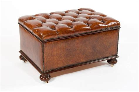vintage leather ottoman antique leather upholstered box ottoman at 1stdibs