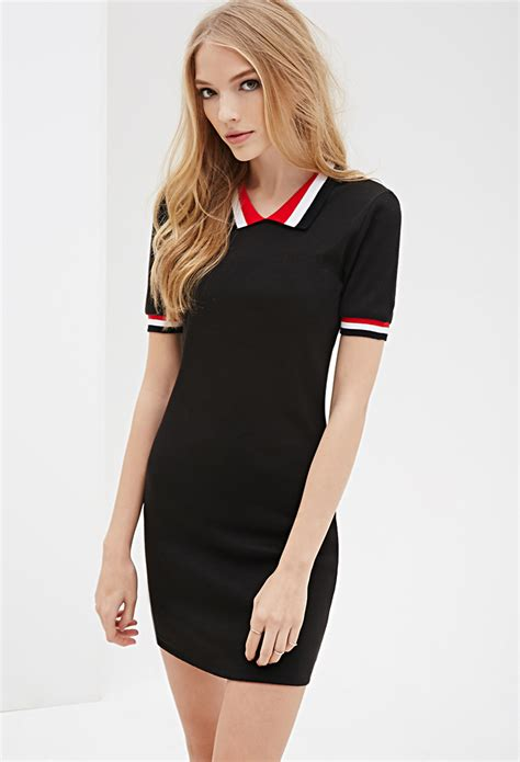 Dress Polos Spandek lyst forever 21 ribbed knit polo dress in black