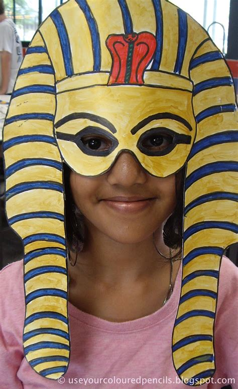 use your coloured pencils tutankhamun masks