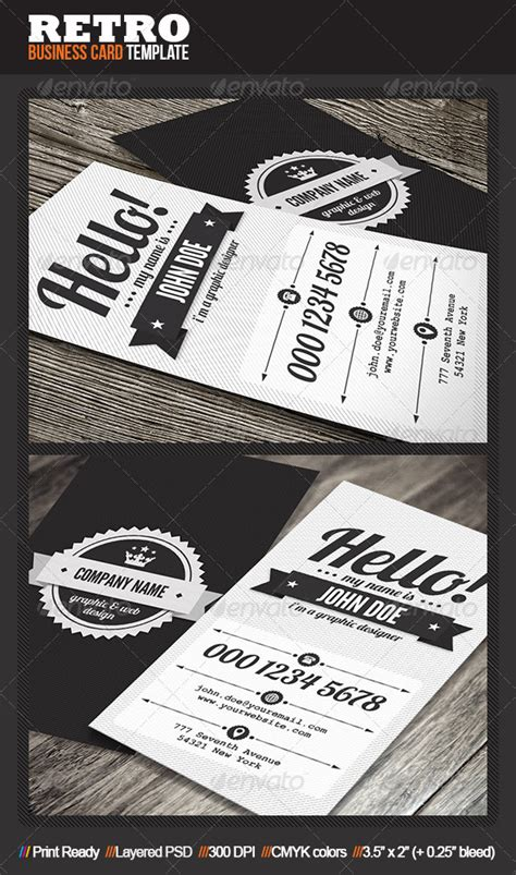 clean retro business card by mengloong graphicriver