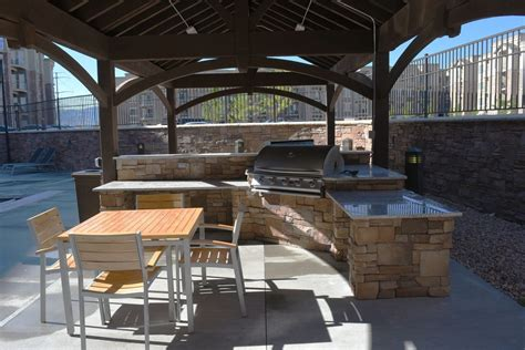 fun recreational commercial poolside pavilion  bbq bars western timber frame