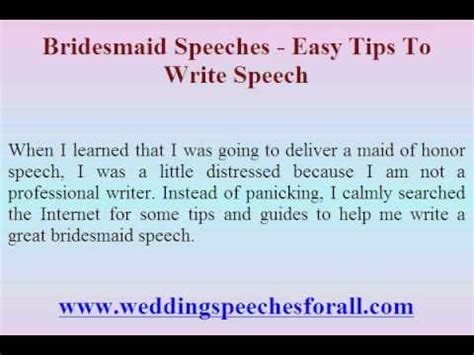 of honor speech template bridesmaid speeches easy tips to write speech