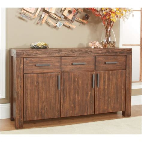 Modus Furniture Meadow Solid Wood Sideboard In Brick Brown Solid Wood Sideboards And Buffets
