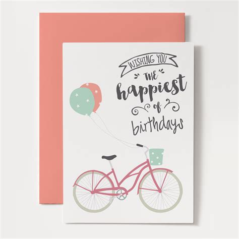 printable birthday cards diy printable birthday card bicycle with balloons