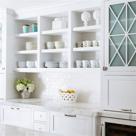 Glass Shelves Kitchen Cabinets White Kitchen Cabinets White Subway Tiles Design Ideas