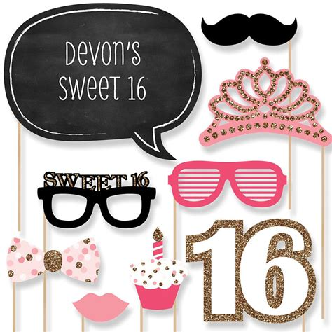 printable photo booth props sweet 16 sweet 16 birthday party photo booth props from big dot of