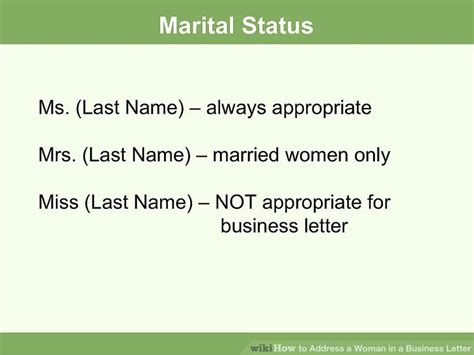 Business Letter Ms Or Mrs how to address a in a business letter 7 steps
