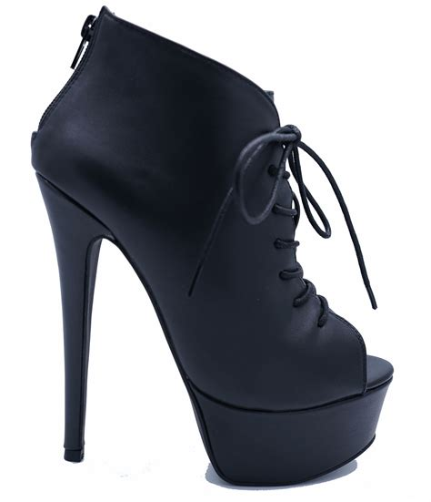 Zip Up High Heel Ankle Boots black zip up platform peep toe lace up ankle high
