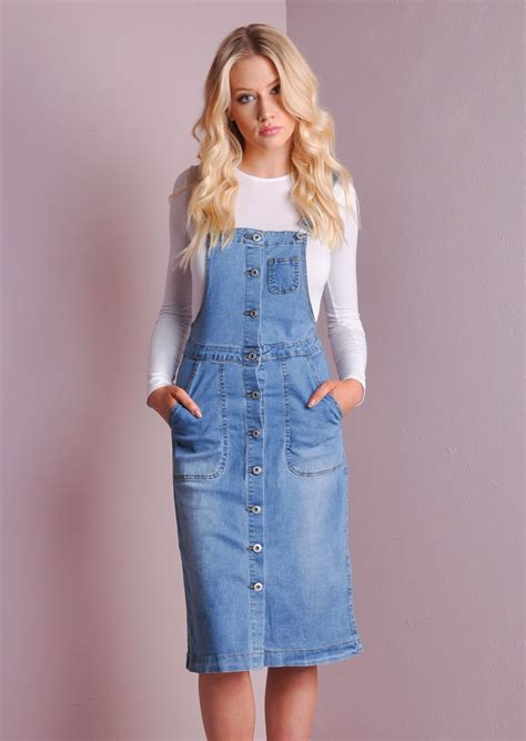Trends The Pinafore Dress by Retro Style Denim Pinafore Midi Dress Dungaree Blue
