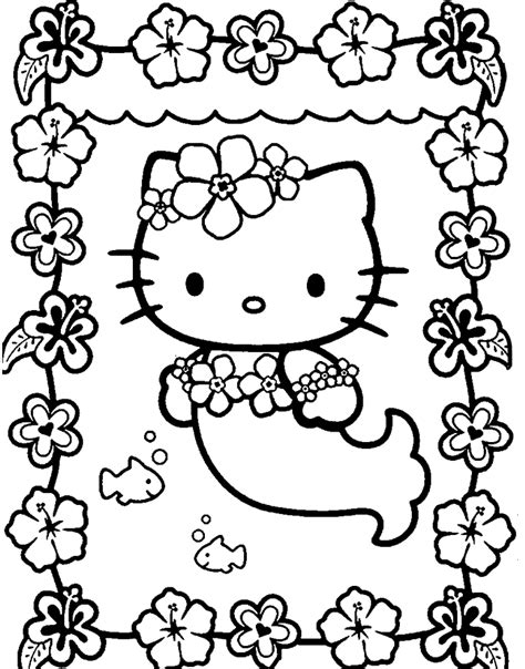 coloring page hello kitty mermaid color hello kitty coloring home