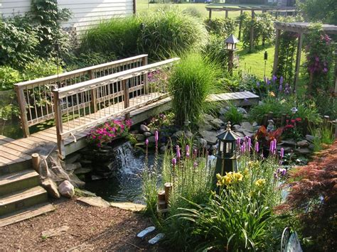 yard bridge outdoor yard pond ideas with wood bridge yard pond ideas