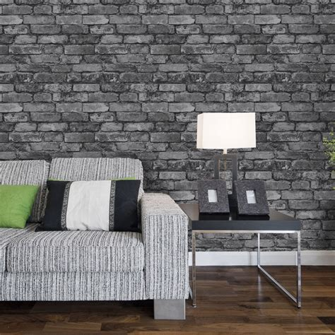 brick wallpaper grey living room grey brick effect wallpaper google search zal