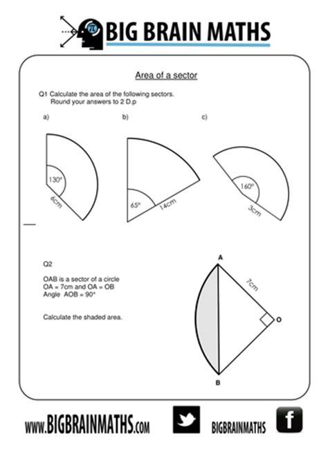 printable area pdf worksheets area of a sector worksheet opossumsoft