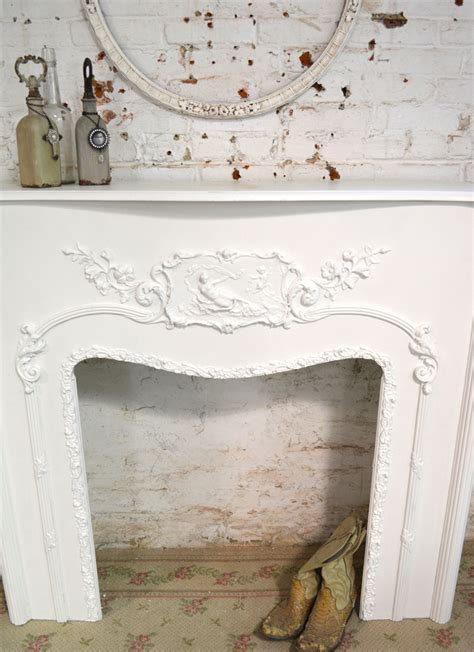 painted cottage chic shabby fireplace mantel pcfp 495