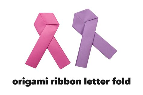 Ribbon Origami Tutorial - origami pink ribbon letter fold tutorial