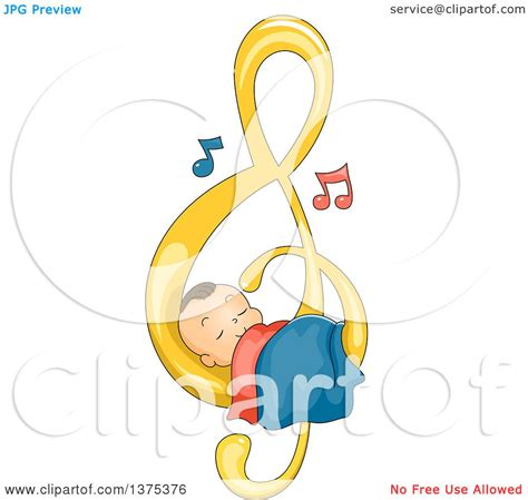 Free Music For Babies | clipart of a brunette white baby boy sleeping on a music