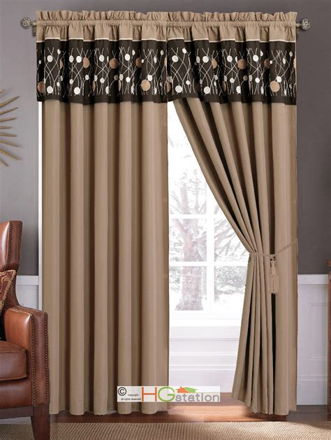tan and brown curtains 4 pc meadow wild flower embroidery curtain set coffee