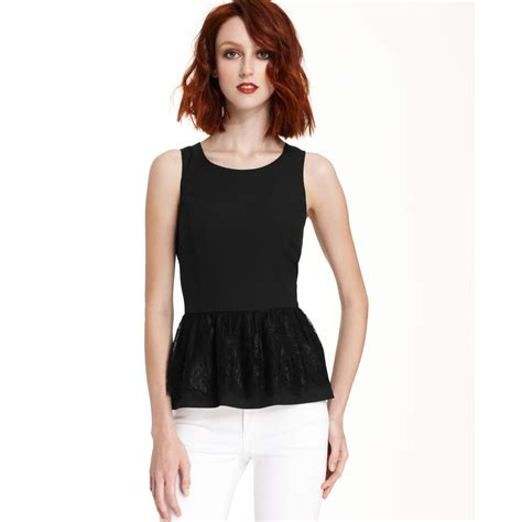 Kesie Top Lyst Kensie Sleeveless Scoop Neck Lace Peplum Top In Black