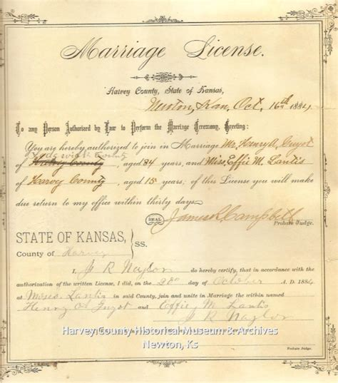 Sedgwick County Marriage License Records Civil War Archives Harvey County Historical Society