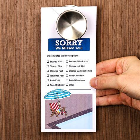 maintenance door hanger template sorry we missed you pool service door hanger signs sku