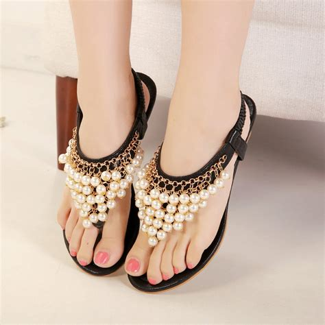 White Cath Flat Sling Back Sandals pearls heels must catch your womenitems