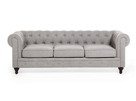 Grey Fabric Chesterfield Sofa Chesterfield Sofa 3 Sitzer Sofa Quilted Light Grey Fabric Ebay