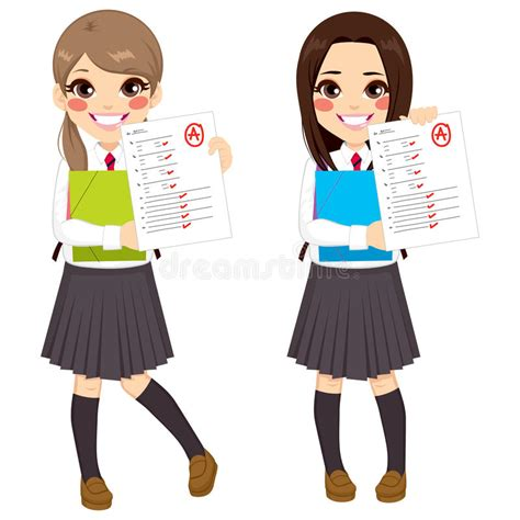 test ragazze studente test results illustrazione vettoriale