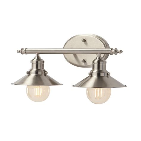 home decorators collection 2 light brushed nickel retro vanity light with metal shades home decorators collection 2 light brushed nickel retro vanity light with metal shades