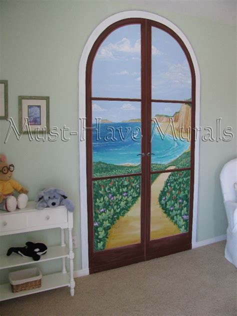 Closet Door Murals Faux Door To Mural Idea Master Bedroom Closet