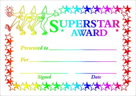 printable star awards certificates a6 size universal non personalised a6